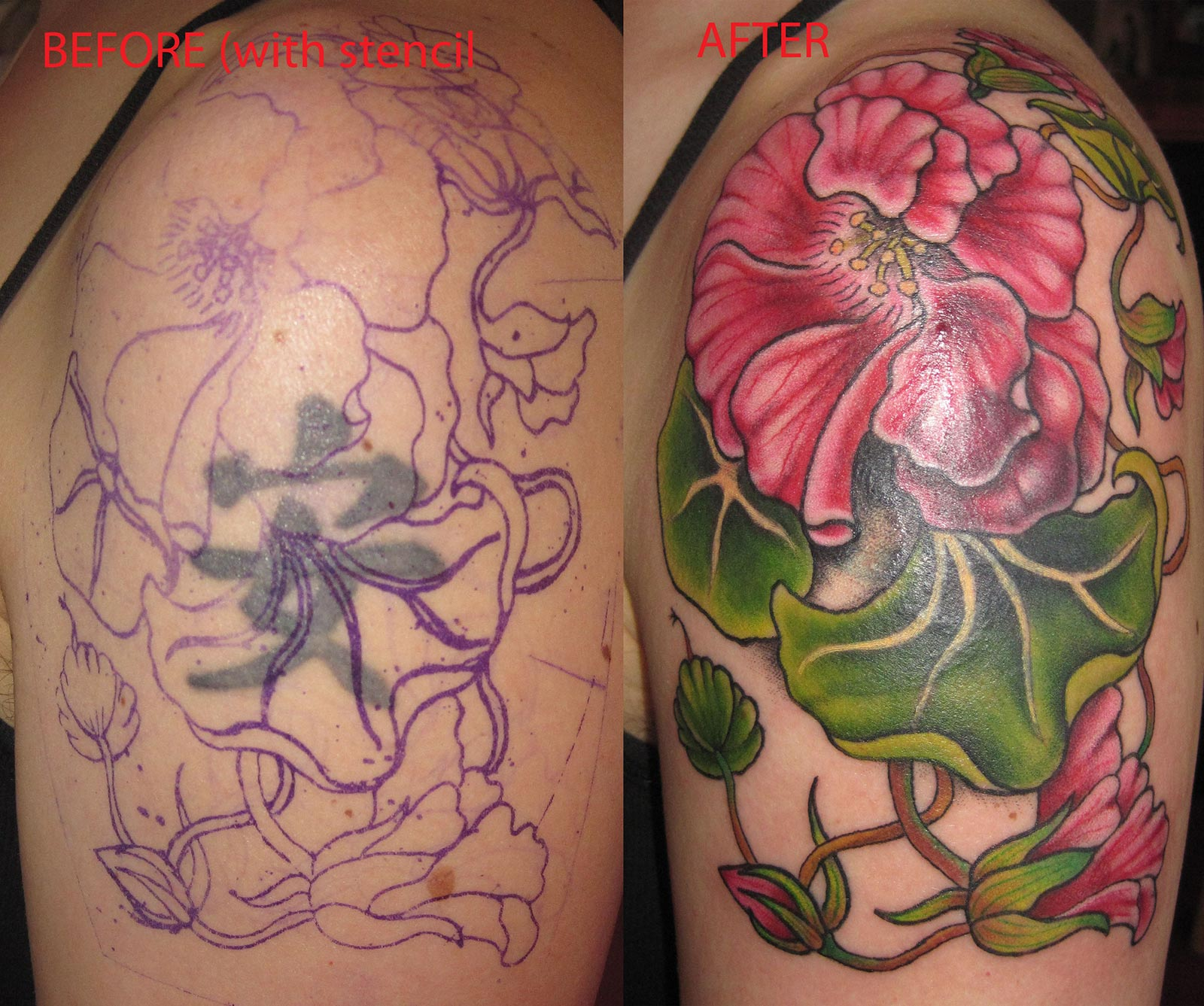 Black And Red Rose Tattoo Cover Up